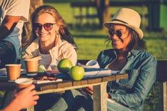 Amis multi-ethniques buvant du café et causant en parc Photographie stock libre de droits