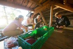 Amis multi-ethniques préparant des casse-croûte dans le hangar Photographie stock libre de droits