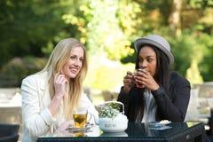 Amis multiculturels buvant du thé Photo libre de droits