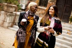 Amis multiraciaux dehors Photos libres de droits