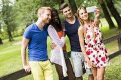 Amis multiraciaux prenant le selfie en parc Photo stock