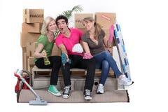 Amis nettoyant la maison Photographie stock libre de droits
