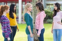 Amis observant des étudiantes avoir un conflit dans le parc Photos libres de droits