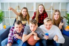 Amis observant le basket-ball Photographie stock
