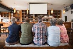 Amis observant le football sur des projecteurs Image stock