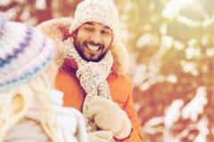 Amis ou couples heureux dans la forêt d'hiver Photo libre de droits