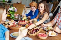Amis par la table de fête Image libre de droits