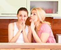 Amis parlant dans la cuisine Images libres de droits