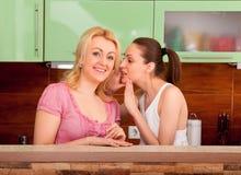 Amis parlant dans la cuisine Image libre de droits