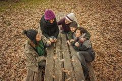 Amis parlant dans un banc en parc Photographie stock libre de droits