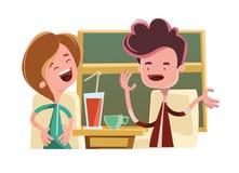 Amis parlant dans un personnage de dessin animé d'illustration de barre Images libres de droits