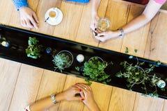 Amis parlant tout en attendant la nourriture Image stock