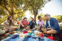 Amis parlant tout en ayant la nourriture pendant le pique-nique Photo stock
