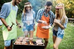 Amis passant le temps en nature et ayant le barbecue Images libres de droits