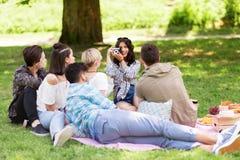 Amis photographiant au pique-nique en parc d'été Image stock