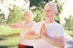 Amis pluss âgé positifs ayant la méditation dehors Images libres de droits