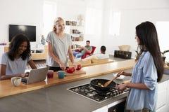 Amis préparant le repas ensemble dans la cuisine moderne Photo stock