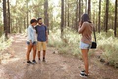 Amis prenant des photos dans une forêt Image stock