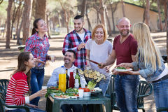 Amis prenant des photos ensemble au barbecue Photo stock