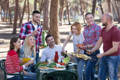 Amis prenant des photos ensemble au barbecue Image stock