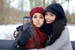 Amis prenant des photos tout en faisant des visages Photo libre de droits