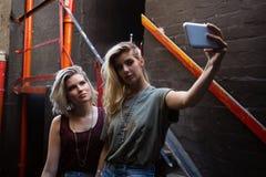Amis prenant le selfie au téléphone portable Images stock