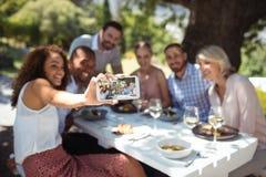 Amis prenant le selfie au téléphone portable tout en ayant le repas Photo libre de droits