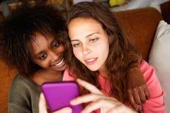 Amis prenant le selfie avec le téléphone intelligent Photographie stock libre de droits