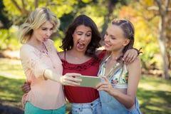 Amis prenant le selfie avec le téléphone portable Images libres de droits