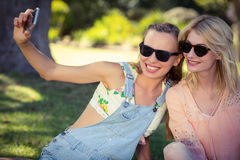 Amis prenant le selfie avec le téléphone portable Images stock
