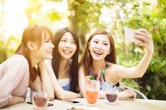 Amis prenant le selfie dans le restaurant Images stock