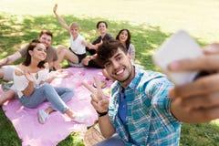 Amis prenant le selfie par le smartphone au pique-nique Photos libres de droits