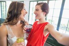 Amis prenant un selfie tout en tenant des verres de cocktail Image libre de droits