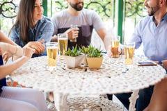 Amis profitant d'un agréable moment et buvant de la bière Images stock