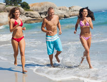 Amis pulsant sur la plage Image libre de droits