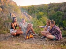 Amis rôtissant des guimauves près d'une cheminée sur un fond naturel Concept de jour de pique-nique Copiez l'espace Images stock