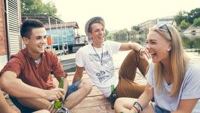 Amis refroidissant près du lac Photo stock