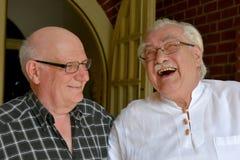 Amis, riant avec tout leur coeur Photo stock