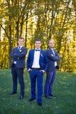Amis riant du mariage d'un ami Photo libre de droits