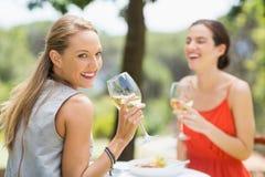 Amis riant tout en buvant du vin Photos stock