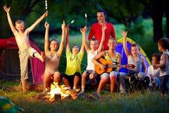 Amis riants ayant l'amusement autour du feu de camp Images stock