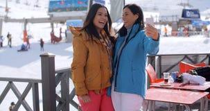 Amis riants prenant le selfie à une station de sports d'hiver Photographie stock
