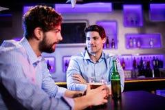 Amis s'asseyant au compteur de barre et ayant la bière Image libre de droits