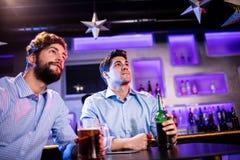 Amis s'asseyant au compteur de barre et ayant la bière Photographie stock libre de droits