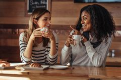 Amis s'asseyant dans un café potable de café Photo stock