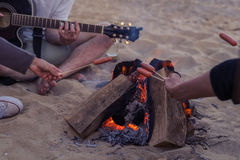 Amis s'asseyant sur la plage L'homme joue la guitare Image libre de droits