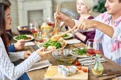 Amis se réunissant au Tableau de dîner Photographie stock