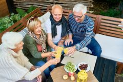Amis se réunissant dans la retraite Image libre de droits