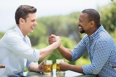 Amis se saluant tout en tenant des verres de bière Photo libre de droits