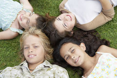 Amis se trouvant ensemble sur l'herbe Photographie stock libre de droits